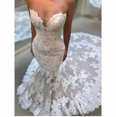 Affordable Lace Appliques Sleeveless Wedding Dresses Sweetheart Bridal Gowns Online_3