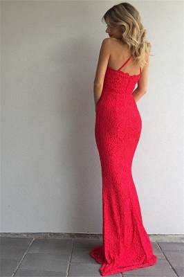 Simple Red Lace Prom Dresses Sheath Spaghetti Straps Evening Gowns_3