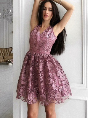 Gorgeous A-Line Sleeveless Homecoming Dresses |  V-Neck Lace Short Hoco Dress_3
