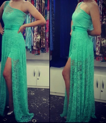 One Shoulder Green Lace Sexy Long Prom Dress Latest Floor Length Side Slit Evening Dresses with Belt_2
