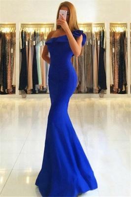 Royal Blue Mermaid Evening Dresses  | One Shoulder Floor Length Prom Dresses_1