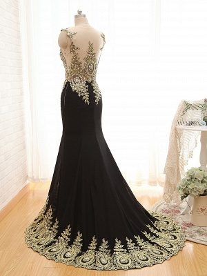 New Arrival Black Mermaid Prom Dress with Beadings Sweep Train Lace Evening Gown_3