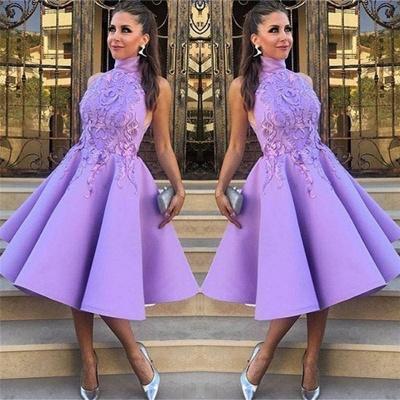 High Neck Lavender Appliques Evening Dresses | Sleeveless Knee Length  Formal Dresses_3