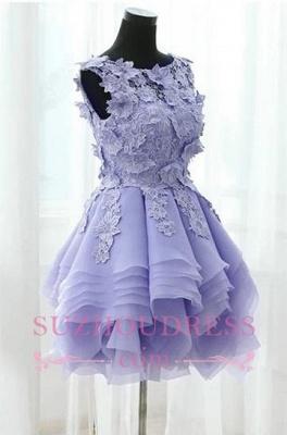 Sleeveless Cute Short Flowers Straps Ruffles Homecoming Dress_4