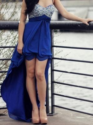 New Arrival Spaghetti Strap Crystal Prom Dress Chiffon Hi-Lo Formal Occasion Dress_5