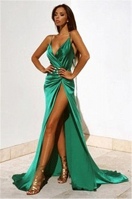 spaghetti straps sexy evening dress with slit   party dresses BA2119_1