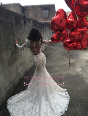 Charming Long Sleeves Mermaid Bridal Dresses  Tulle Appliques Mermaid Sheer Back Wedding Dress BA3741_3