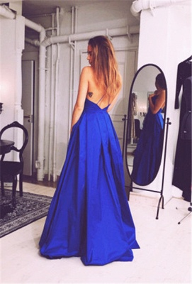 Sexy V Neck Backless Royal Blue Evening Dresses Ball Gown Open Back Formal Dresses for Graduation CJ0216_2