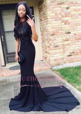 Black Sweep-Train Mermaid Lace-Appliques Sexy Prom Dress BA4826_1