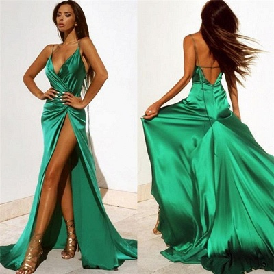 spaghetti straps sexy evening dress with slit   party dresses BA2119_2