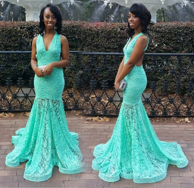 Turquoise Lace Dress for  Prom Sexy Open Back Memraid Evening Dresses_3