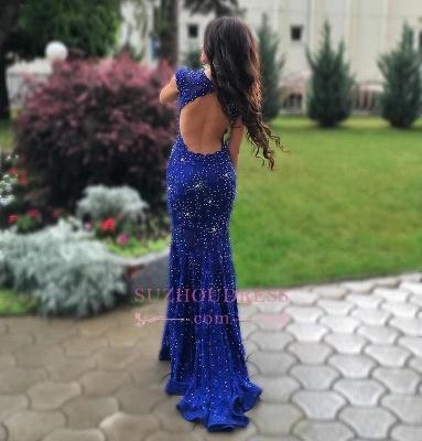 Lace-Appliques Royal-Blue Beads Sleeveless Gorgeous Mermaid prom dress BA4876_1