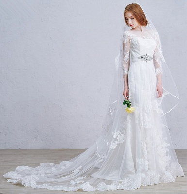 Latest Crystal Tulle Lace Wedding Dress Custom Made Long Sleeve Bridal Gowns with Wedding Veil_2