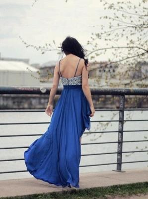 New Arrival Spaghetti Strap Crystal Prom Dress Chiffon Hi-Lo Formal Occasion Dress_3