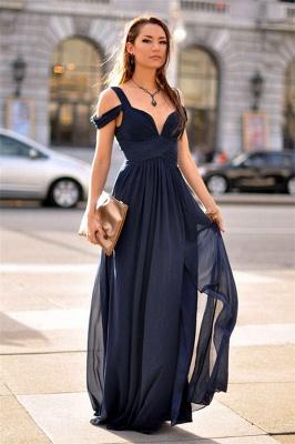 Charming Dark Navy Chiffon Evening Dress  Straps  V-neck Formal Dress BA3478_1