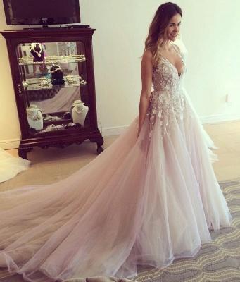 Deep V Neck Sexy Pink Wedding Dresses  Sleeveless Tulle Wedding Reception Dress with Flowers_2