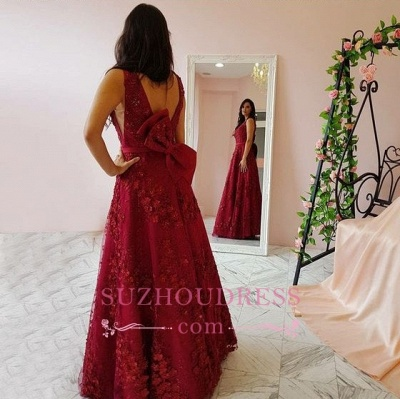 Burgundy Lace V-Neck Prom Dresses   Sleeveless A-line Evening Gowns_1
