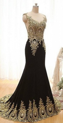 New Arrival Black Mermaid Prom Dress with Beadings Sweep Train Lace Evening Gown_1