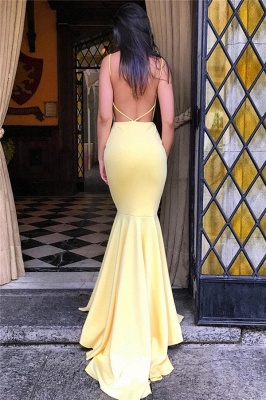 Backless Mermaid Yellow Formal Evening Dress | Sexy Sleeveless Sheath  Party Dress FB0354_4