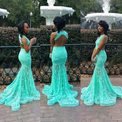 Turquoise Lace Dress for  Prom Sexy Open Back Memraid Evening Dresses_4