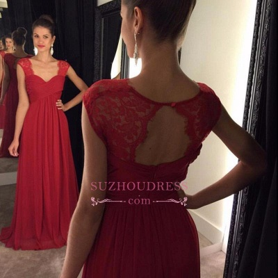 Formal Dress A-line Lace Modest Cap Sleeves Chiffon Floor Length Red Prom Dresses_1