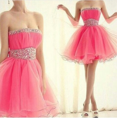Cute Pink Strapless Crystal Short Cocktail Dresses Empire Organza Popular Mini Homecoming Dress with Beadings BA7322_2
