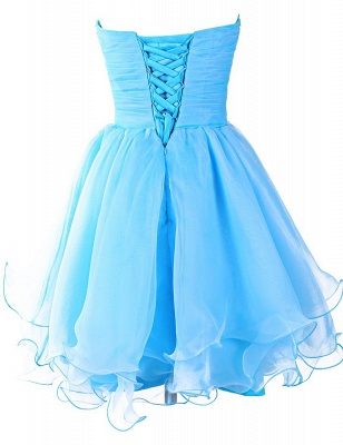 Blue Ruffles Sweetheart Short Homeocming Dresses with Beadings Cute Organza Lace-Up Cocktail Dress_2