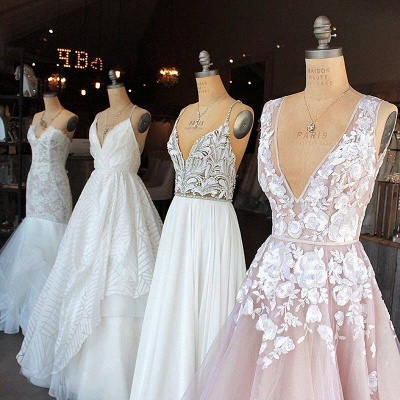 Deep V Neck Sexy Pink Wedding Dresses  Sleeveless Tulle Wedding Reception Dress with Flowers_4