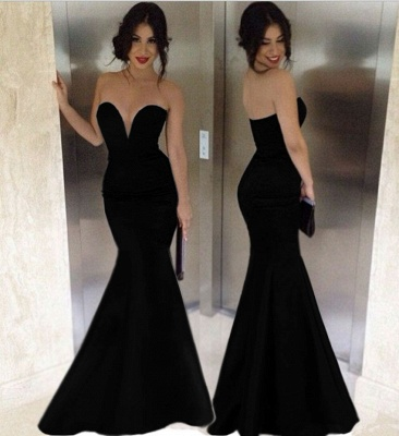 Black Mermaid Sexy Long Evening Dresses  Deep V Neck Floor Length Custom Made Prom Gowns CJ0159_1