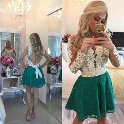 White Appliques Top Green Lace Skirt  Homecoming Dresses Long Sleeve Beaded Evening Gown BA3568_3