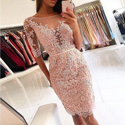Pink Sheath Homecoming Dresses | Half Sleeves Knee Length Hoco Dress BA9826_3