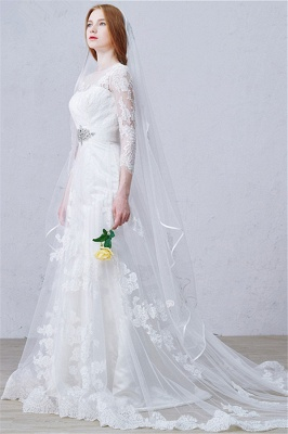 Latest Crystal Tulle Lace Wedding Dress Custom Made Long Sleeve Bridal Gowns with Wedding Veil_3