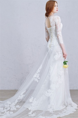 Latest Crystal Tulle Lace Wedding Dress Custom Made Long Sleeve Bridal Gowns with Wedding Veil_4