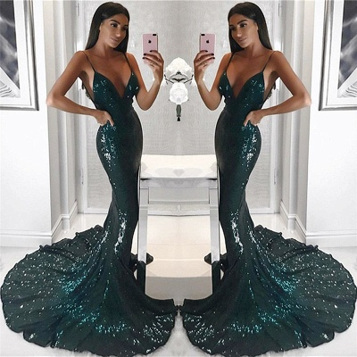 Spaghetti Straps V-neck Shiny Sequins Evening Dresses | Sheath Long Train Sexy Prom Dresses 2019_1
