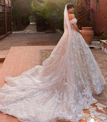 Affordable Tulle Lace Appliques Wedding Dresses Tulle Off The Shoulder Bridal Gowns Online_3