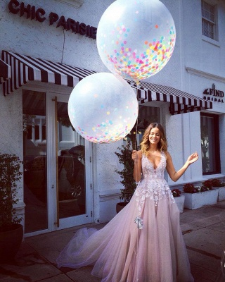 Deep V Neck Sexy Pink Wedding Dresses  Sleeveless Tulle Wedding Reception Dress with Flowers_3