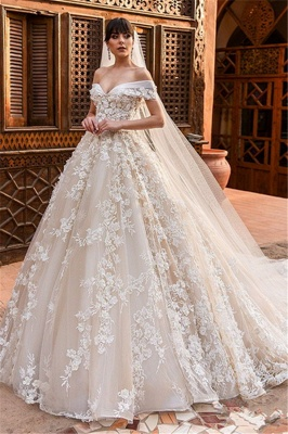 Affordable Tulle Lace Appliques Wedding Dresses Tulle Off The Shoulder Bridal Gowns Online_1