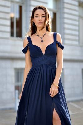 Charming Dark Navy Chiffon Evening Dress  Straps  V-neck Formal Dress BA3478_3
