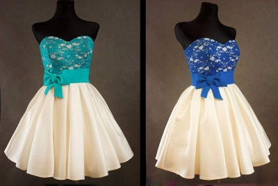 Sweetheart Royal Blue Lace  Homecoming Dress with bowknot Short Cute Evening Dresses BA3919_2
