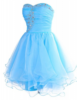 Blue Ruffles Sweetheart Short Homeocming Dresses with Beadings Cute Organza Lace-Up Cocktail Dress_1