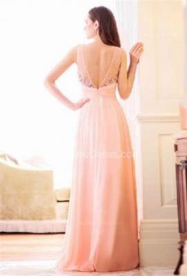 Pink Bridesmaid Dresses  Illusion Neck Sleeveless A Line Floor Length Crystal Beading Zipper Party Gowns_3