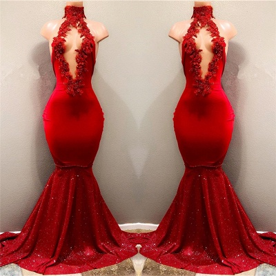 Sexy Red Appliques Mermaid Prom Dress | Sequins Deep V-neck   Evening Gown BA7962_3