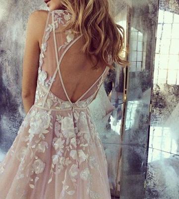 Deep V Neck Sexy Pink Wedding Dresses  Sleeveless Tulle Wedding Reception Dress with Flowers_5