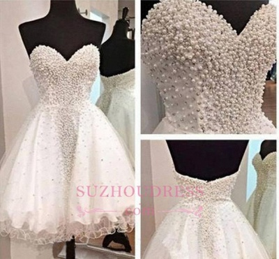 Short Open Back Sweetheart Crystal A-Line Glamorous  Homecoming Dress_1