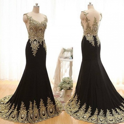 New Arrival Black Mermaid Prom Dress with Beadings Sweep Train Lace Evening Gown_4