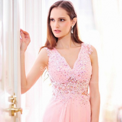 Pink Bridesmaid Dresses  V Neck Sleeveless Sweep Train Appliques See Through Beading Sequins Party Gowns_4