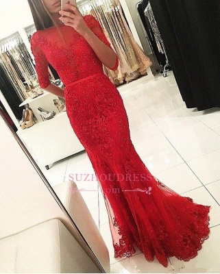 Half Sleeves Tulle Beadings Red Evening Gowns Appliques Mermaid Prom Dress  BA5509_1
