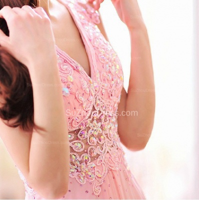 Pink Bridesmaid Dresses  V Neck Sleeveless Sweep Train Appliques See Through Beading Sequins Party Gowns_5
