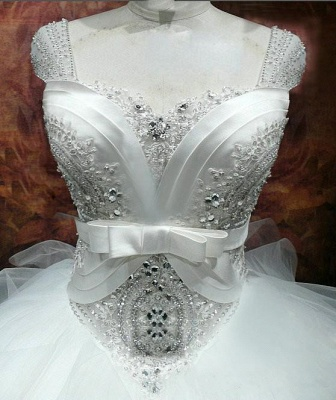 Luxurious Crystal Ball Gown Princess Dress with Beadings Tulle Bowknot Lace-Up Wedding Gown_2