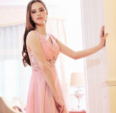 Pink Bridesmaid Dresses  V Neck Sleeveless Sweep Train Appliques See Through Beading Sequins Party Gowns_2